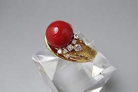 赤珊瑚のリングを高価買取しました。
