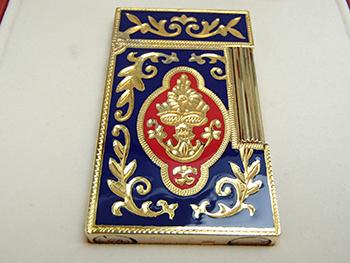 ST.Dupont デュポン彫金赤青ガスライターケースカード付着火未確認 高価買取しました。埼玉県のお客様