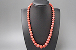 ピンク珊瑚 丸玉ネックレス